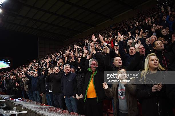 Supporters celebrate during The Emirates FA Cup Third Round match between Stoke City and Wolverhampton Wanderers at Bet365 Stadium on January 7 2017...