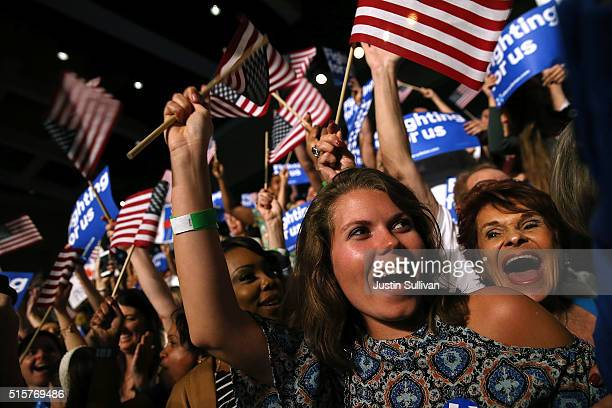Supporters celebrate during the primary night gathering for Democratic presidential candidate former Secretary of State Hillary Clinton on March 15...