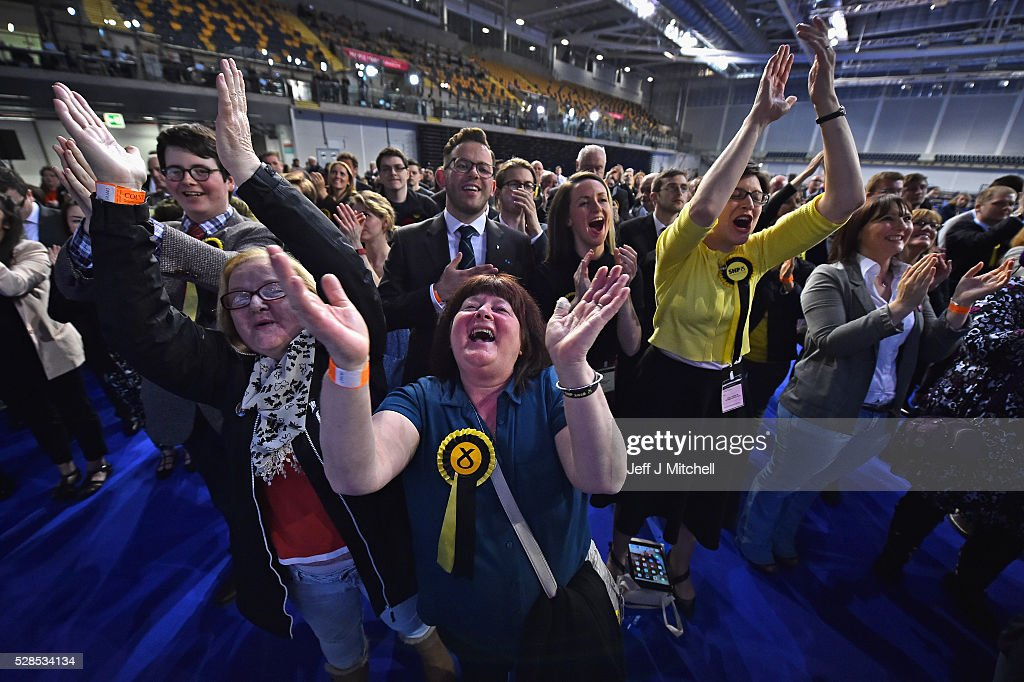 SNP supporters celebrate their successes in the Scottish Parliament elections at the Emirates Arena on May 6, 2016 in Glasgow,Scotland. The SNP, Conservatives and Liberal Democrats political parties have enjoyed a successful evening but the Labour's vote has fallen in the Holyrood election.
