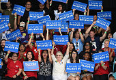 Supporters cheer as Democratic presidential candidate Sen Bernie Sanders gives a concession speech at the Henderson Pavilion on February 20 2016 in...