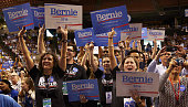 Supporters cheer democratic presidential candidate Sen Bernie Sanders of Vermont at the New Hampshire Democratic Party Convention in Manchester New...