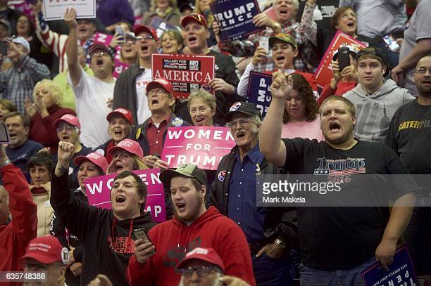 Supporters cheer during a rally with Republican Presidential nominee Donald J Trump at Giant Center November 4 2016 in Hershey Pennsylvania Polls...
