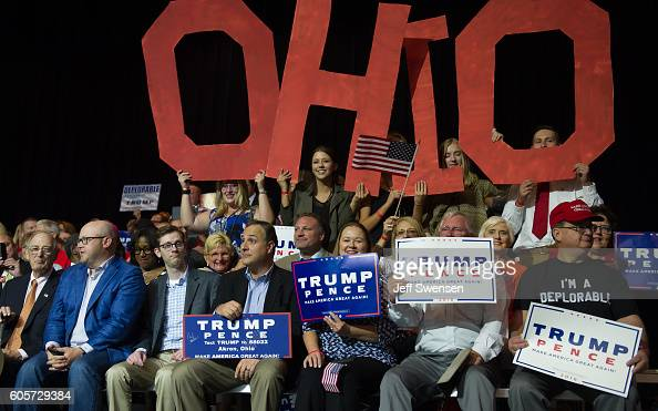 Supporters cheer for Republican Presidential candidate Donald Trump during a campaign rally at the Canton Memorial Civic Center on September 14 2016...