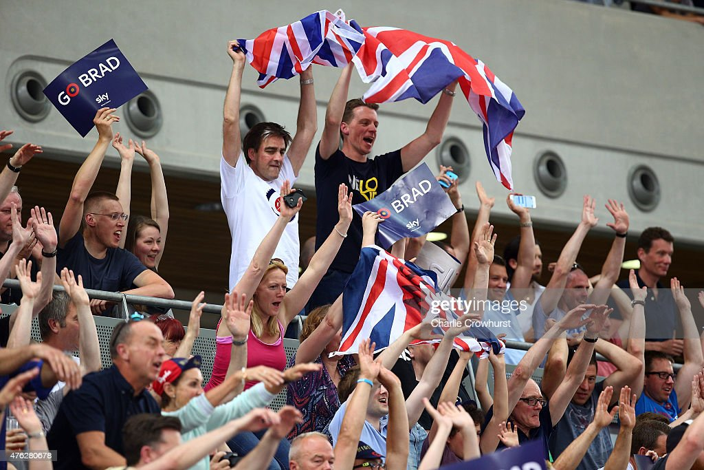 Supporters cheer on Sir Bradley Wiggins of Great Britain and Team Wiggins as he tries to break the UCI One Hour Record at Lee Valley Velopark Velodrome on June 7, 2015 in London, England.