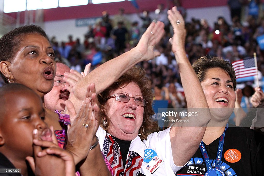 Supporters cheer President Barack Obama during a rally at the Kissimmee Civic Center in Kissimmee Florida Saturday September 8 2012