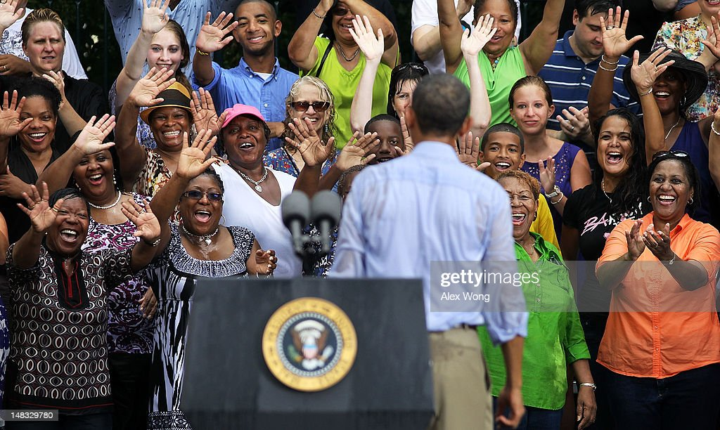 Supporters cheers at the end of U.S. President <a gi-track='captionPersonalityLinkClicked' href=/galleries/search?phrase=Barack+Obama&family=editorial&specificpeople=203260 ng-click='$event.stopPropagation()'>Barack Obama</a>'s ''A Vision for Virginia's Middle Class'' campaign event July 14, 2012 at Walkerton Tavern in Glen Allen, Virginia. On the last day of his two-day campaign across Virginia, Obama continue to discuss his plan to restore middle class security and urged the Congress to act on extending tax cuts to middle class families.