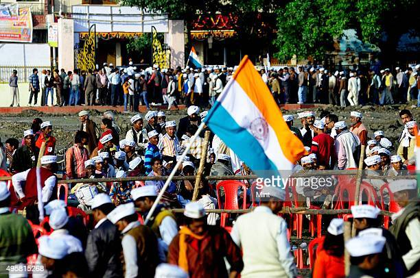 AAP supporters during a rally of Aam Aadmi Partyon March 2 2014 in Kanpur India