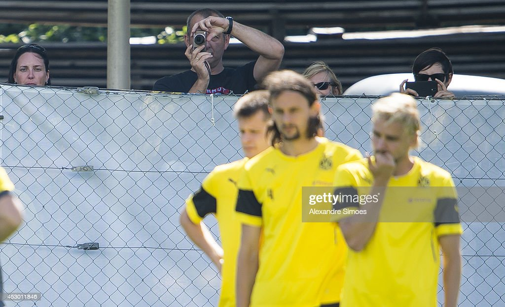 Supporters during a training session in the Borussia Dortmund training camp on July 31, 2014 in Bad Ragaz, Switzerland.