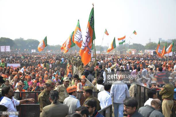 BJP supporters during an election campaign rally of Prime Minister Narendra Modi on February 8 2017 in Ghaziabad India Prime Minister took on the SP...