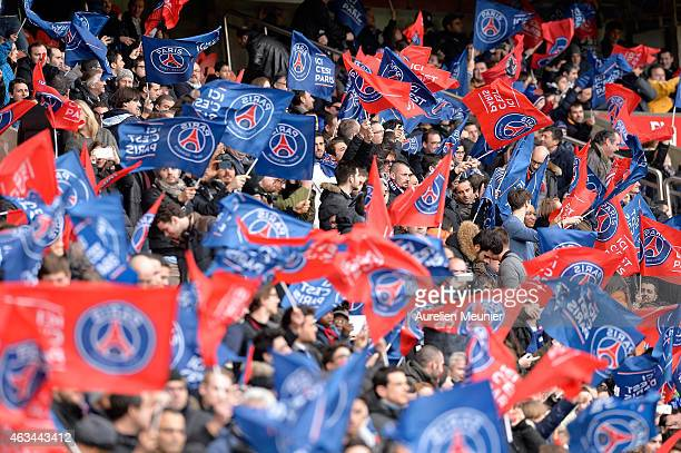 PSG supporters during the French Ligue 1 match between Paris SaintGermain FC and Stade Malherbe Caen at Parc des Princes stadium on February 14 2015...