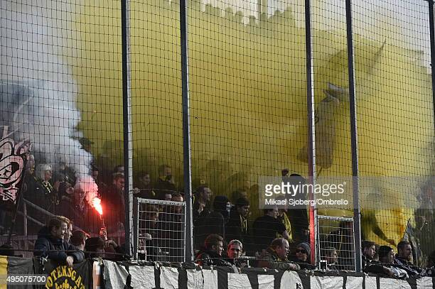 AIK supporters during the match between Orebro SK and AIK at Behrn Arena on October 31 2015 in Orebro Sweden