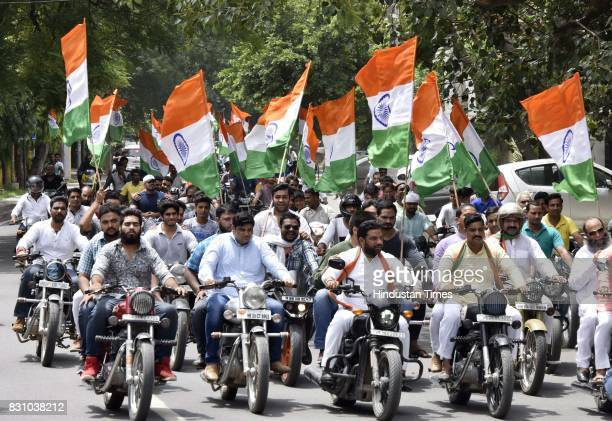 BJP supporters during the 'Tiranga Yatra' to mark the 75th anniversary of the Quit India Movement 1947 on August 13 2017 in Gurgaon India