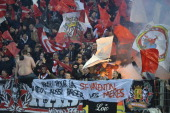 supporters fans during the Jupiler League match between Sporting Charleroi and Standard de Liege on February 15 2014 in Charleroi Belgium