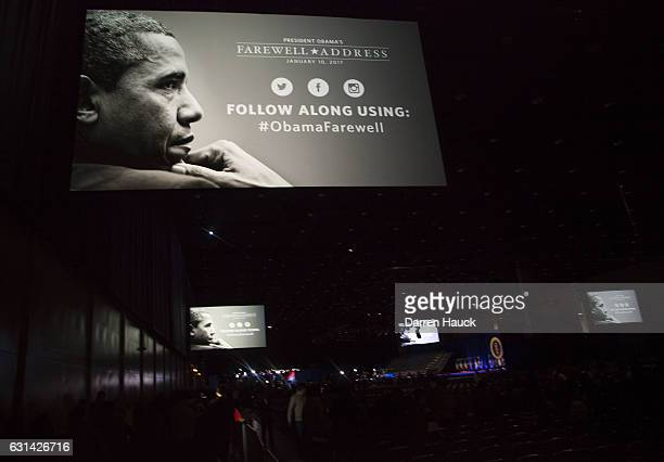Supporters file into the McCormick Center to see US President Barack Obama give his farewell speech on January 10 2017 in Chicago Illinois Obama will...