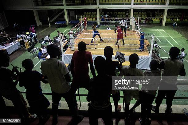 Supporters follow the matches of amateur boxing fighters during the qualification competitions organized to join the national team which will be...