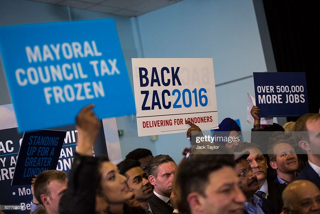 Supporters for the Conservative candidate for Mayor of London, Zac Goldsmith hold placards at a mayoral campaign rally at Grey Court School in Richmond on May 3, 2016 in London, England. The British Prime Minister David Cameron joined the Conservative Mayoral candidate at Grey Court School on the penultimate day of campaigning. Former pupils of the school include London's Cycling Commissioner, Andrew Gilligan. Londoners go to the polls on Thursday 5th May with the declaration expected later on Friday 6th. The current Mayor of London is the Conservative MP for Henley, Boris Johnson.