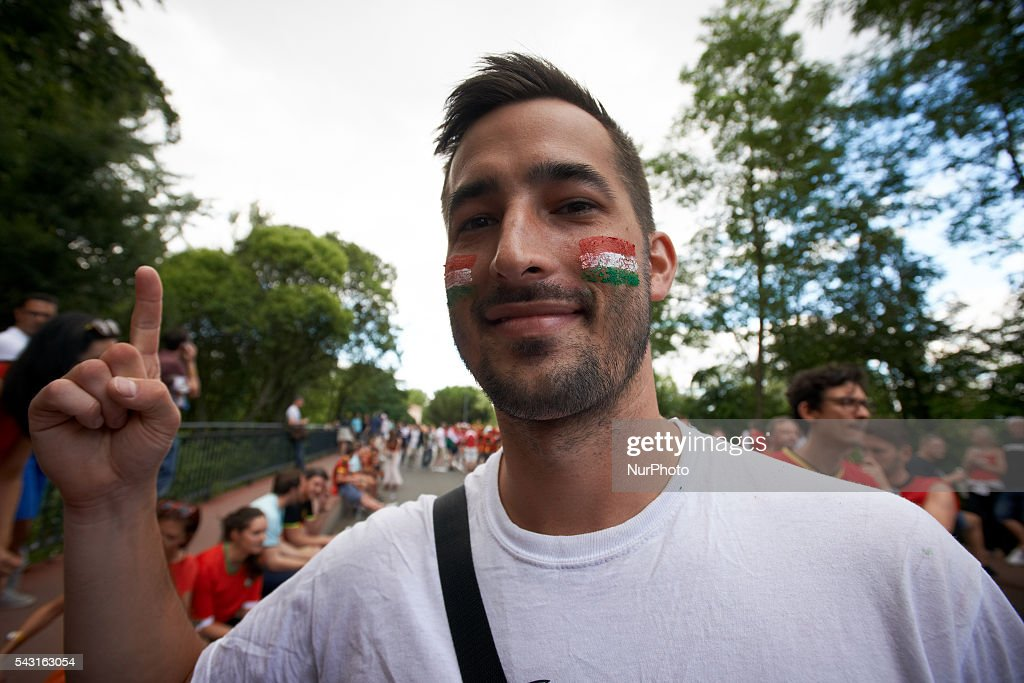 Supporters from Belgium and Hungary came to Toulouse and its Municipal stadium for the round of 16 of the EUFA Euro 2016 football championship. Toulouse, France on June 26th, 2016.
