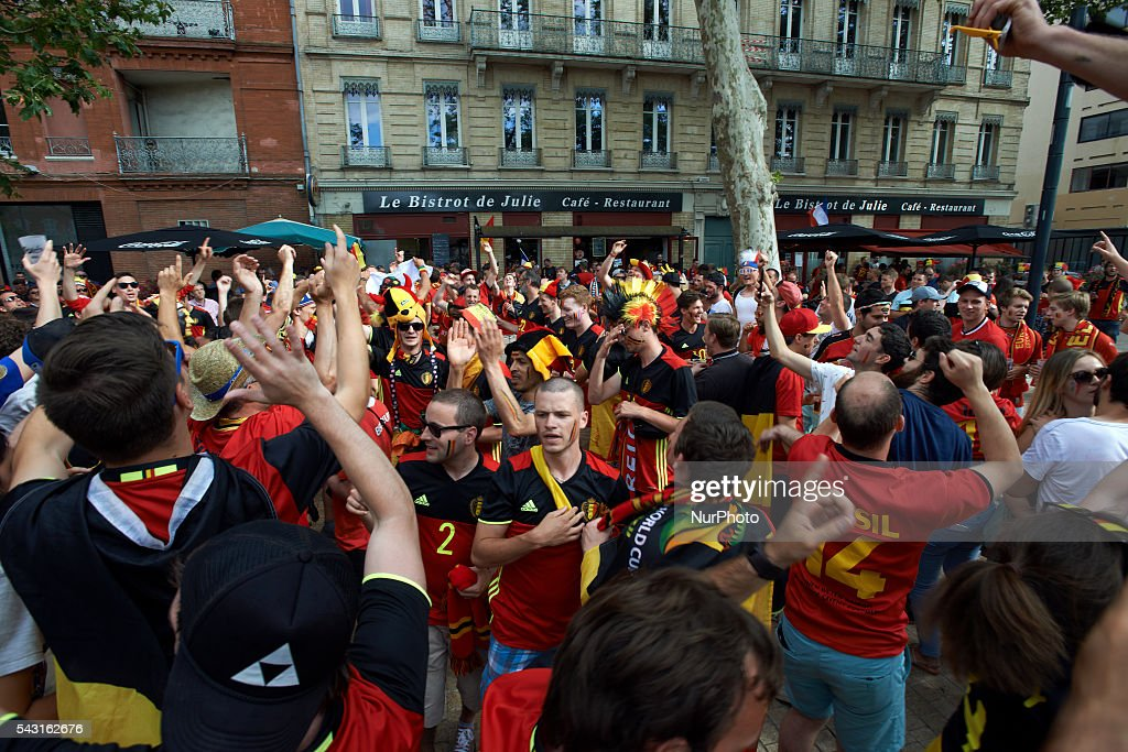 Supporters from Belgium sing their anthem in Toulouse. Supporters from Belgium and Hungary came to Toulouse and its Municipal stadium for the round of 16 of the EUFA Euro 2016 football championship. Toulouse, France on June 26th, 2016.