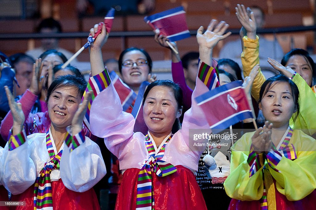 Supporters from North Korea during the IWF World Weightlifting Championships at Centennial Hall on October 22, 2013 in Wroclaw, Poland.