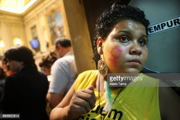 LGBT supporters gather during a protest held inside city council on May 16 2017 in Rio de Janeiro Brazil Protestors occupied the chamber in a...