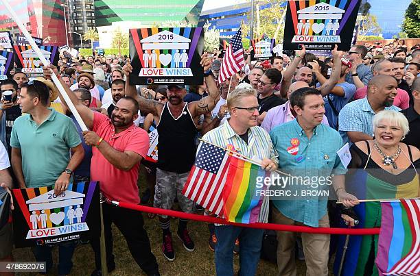 LGBT supporters gather for a festive rally in West Hollywood California on June 26 to celebrate the US Supreme Court decision legalizing samesex...