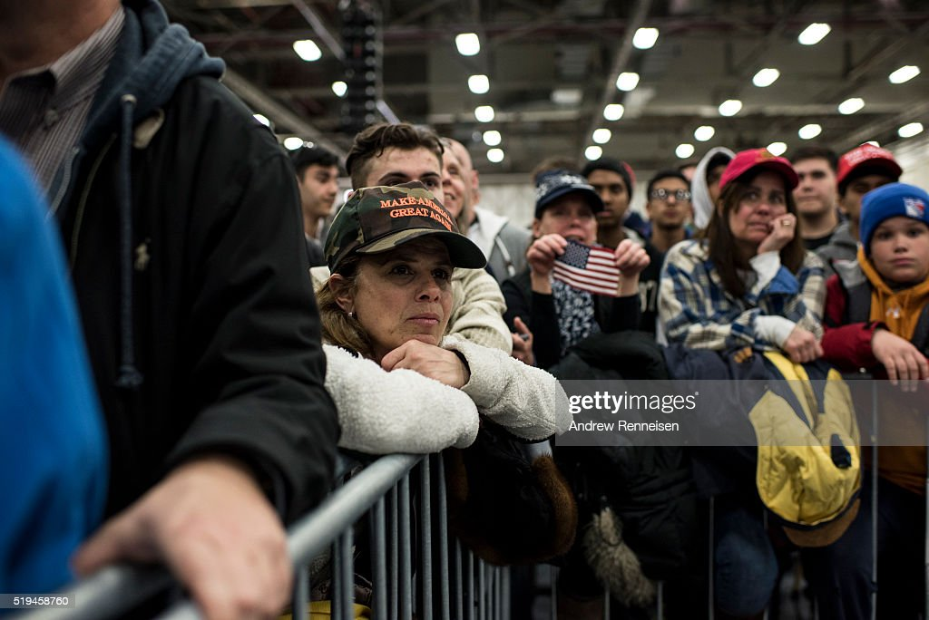 Supporters gather for Republican Presidential Candidate Donald Trump prior to a campaign rally on April 6, 2016 in Bethpage, New York. The rally comes ahead of the April 15 New York primary.