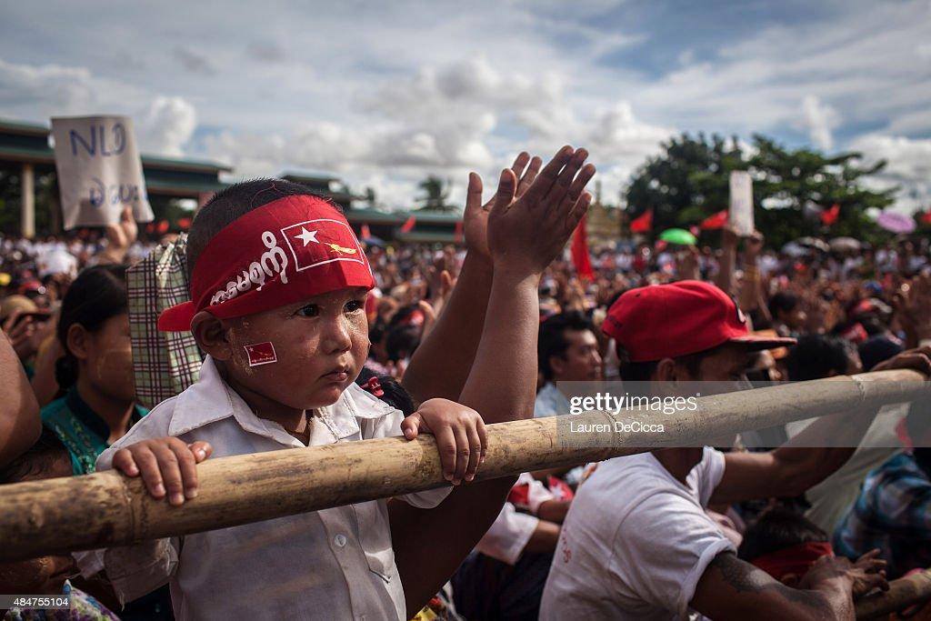 Supporters gather in Than Lyin Myanmar as Aung San Suu Kyi the leader of Myanmar's National League for Democracy speaks at voter education rally on...