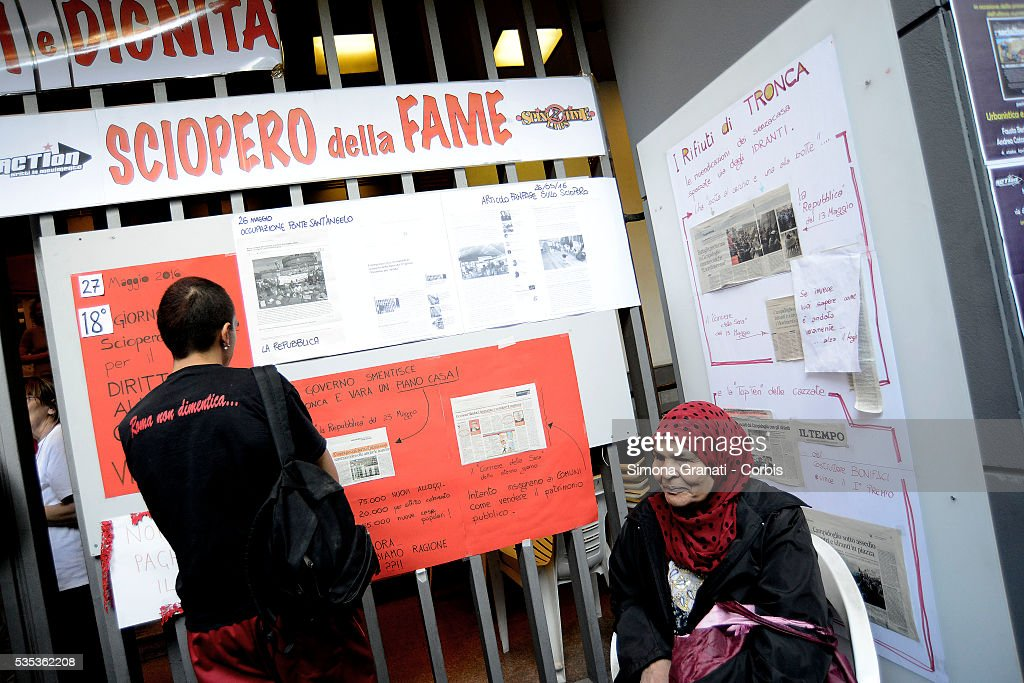 Supporters gather to offer support to the 20 militants of Action, occupants of a house on the 18th day of their hunger strike to demand answers regarding the problem of housing and the risk of evictions on May 27 2016 in Rome, Italy.