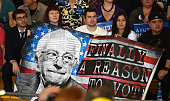 Supporters hold a poster during a campaign rally by Democratic presidential candidate Sen Bernie Sanders at Bonanza High School on February 14 2016...
