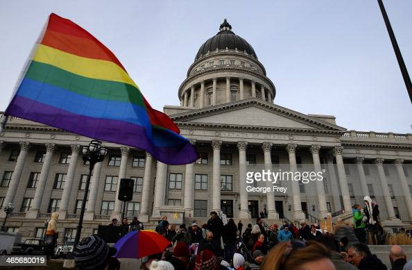 Supporters hold a progay marriage rally outside the Utah State Capitol on January 28 2014 in Salt Lake City Utah Several weeks ago a federal judge...