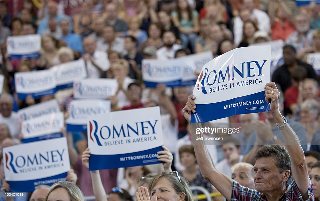Supporters hold up signs as Republican vice presidential candidate U.S. Rep. Paul Ryan (R-WI) speaks at a campaign event at Walsh University on August 16, 2012 in North Canton, Ohio. Ryan is campaigning in the battleground state of Ohio after being named as the vice presidential candidate last week by Republican presidential hopeful Mitt Romney.