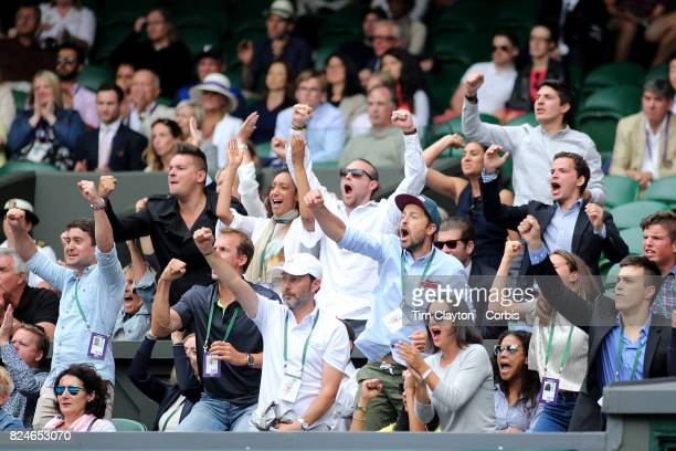 Supporters in the family box react during the Men's Doubles Final between Lucasz Kubot of Poland and Brazil'u2019s Marcelo Melo against Mate Pavic of...