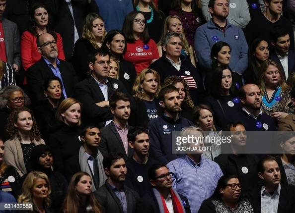 Supporters lissten as US President Barack Obama speaks during his farewell address in Chicago Illinois on January 10 2017 Barack Obama closes the...