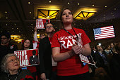 Supporters listen as US Sen Rand Paul addresses the 42nd annual Conservative Political Action Conference February 27 2015 in National Harbor Maryland...