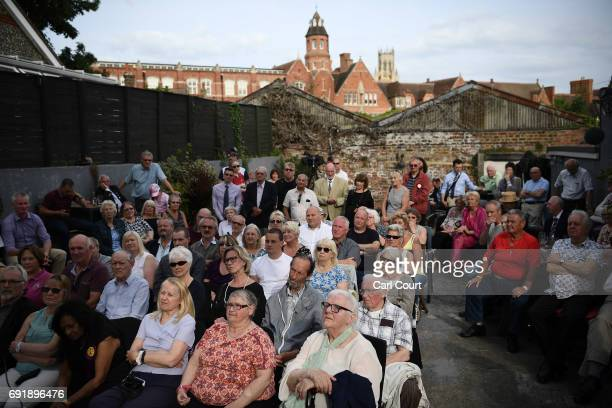 UKIP supporters listen to a speech at a rally ahead of the general election on June 3 2017 in Ramsgate England All parties continue to push the...