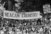 Supporters listen to presidential candidate Ronald Reagan speak on the campaign trail as seen in this 1976 Los Angeles California photo leading up to...