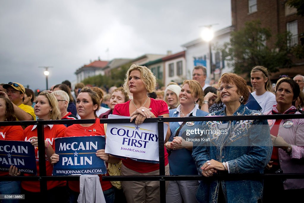 Supporters listen to Republican US vicepresidential nominee and Alaska Governor Sarah Palin at a rally in Lebanon Ohio