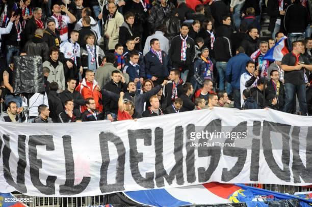 Supporters Lyon / Banderole Puel Demission Lyon / Hapoel Tel Aviv Champions League