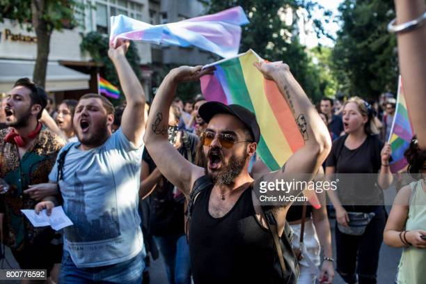 LGBT supporters march towards Taksim Square on June 25 2017 in Istanbul Turkey The 2017 LGBT Pride March was banned by authorities for the third year...