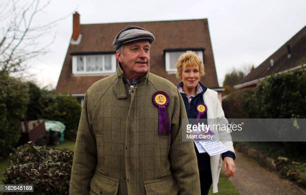 UKIP supporters Neil and Christine Hamilton knock on doors in a street as they help UKIP campaign for the forthcoming byelection on February 25 2013...