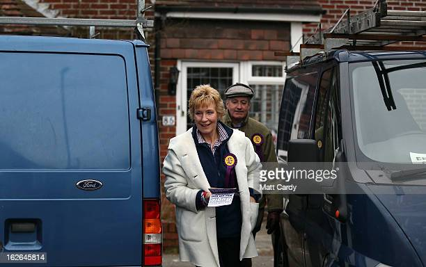 UKIP supporters Neil and Christine Hamilton knock on doors of houses in a street as they help campaign for UKIP in the forthcoming byelection on...