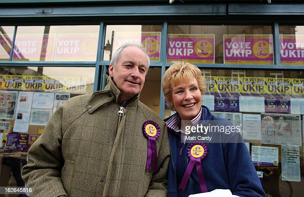 UKIP supporters Neil and Christine Hamilton prepare to knock on doors as they help campaign for UKIP in the forthcoming byelection on February 25...