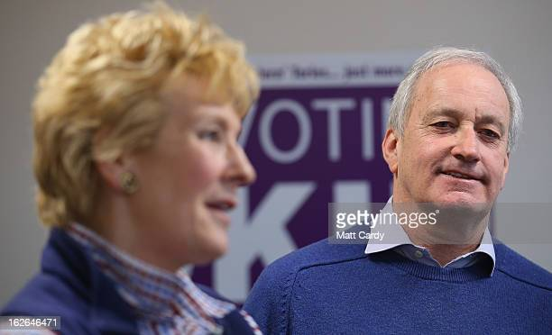UKIP supporters Neil and Christine Hamilton speak with journalists at the UKIP local party office as they prepare to knock on doors as they help...