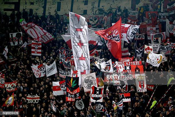 VAK 410 supporters of Ajax during the Dutch Eredivisie match between Ajax Amsterdam and Heracles Almelo at the Amsterdam Arena on January 26 2016 in...