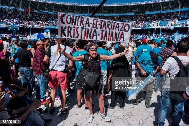 Supporters of Argentina's former President and Buenos Aires senatorial candidate for the Unidad Ciudadana Party Cristina Fernandez de Kirchner attend...