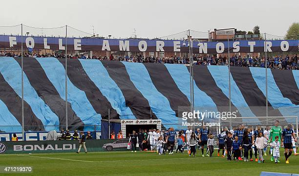 Supporters of Atalanta during the Serie A match between Atalanta BC and Empoli FC at Stadio Atleti Azzurri d'Italia on April 26 2015 in Bergamo Italy