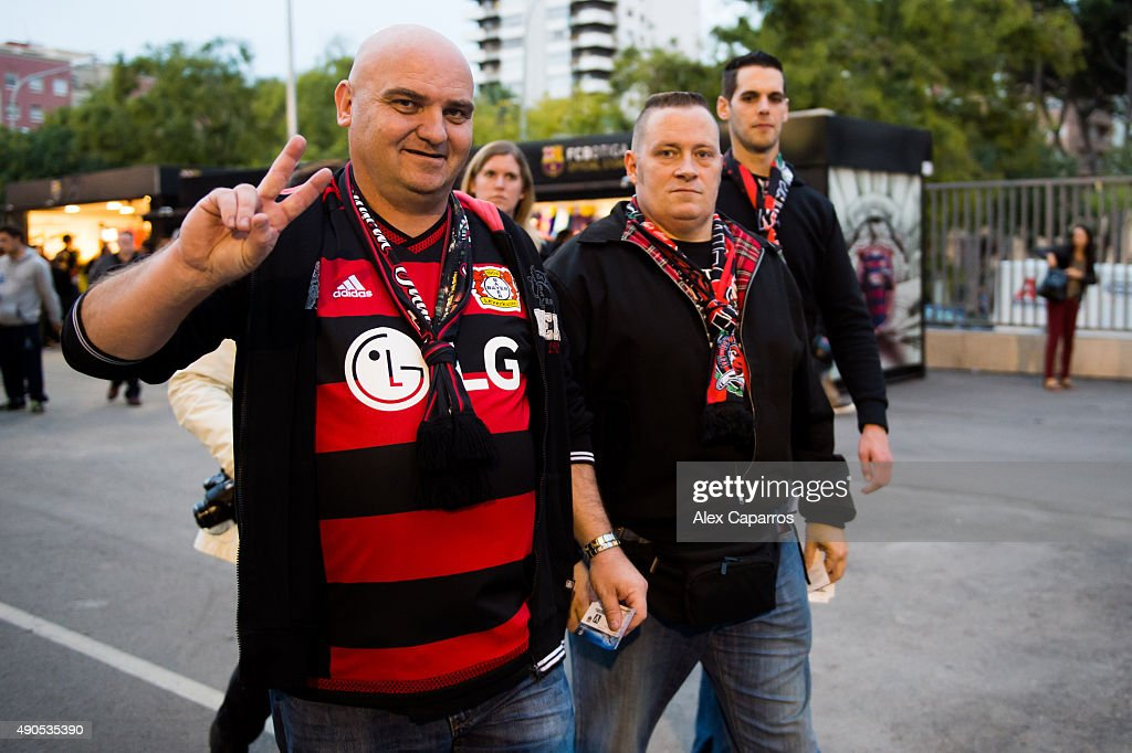 Supporters of Bayer 04 Leverkusen arrive at Camp Nou Stadium ahead of the UEFA Champions League Group E match between FC Barcelona and Bayern 04...