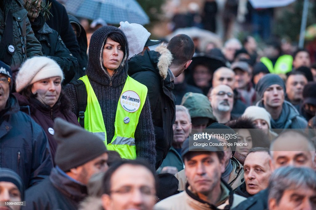 Supporters of Beppe Grillo, founder of the Movimento 5 Stelle (Five Star Movement), participate in a public rally for the political campaign on January 23, 2013 in Pomezia, Italy. Grillo is touring all over Italy to promote the Five Star Movement at the next elections.
