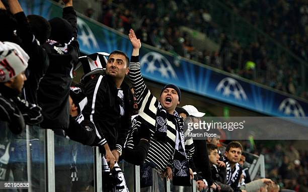 Supporters of Besiktas seen during the UEFA Champions League Group B first leg match between VfL Wolfsburg and Besiktas at the Volkswagen Arena on...