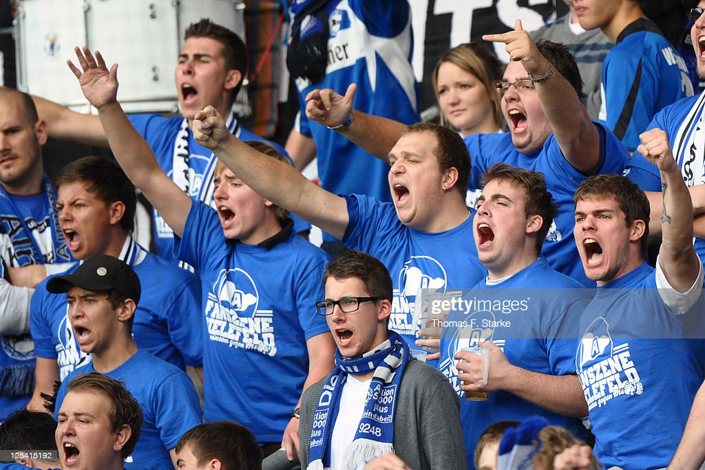 Supporters of Bielefeld criticize their team during the Third League match between Arminia Bielefeld and 1. FC Saarbruecken at the Schueco Arena on September 17, 2011 in Bielefeld, Germany.